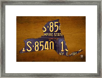 New York State License Plate Map - Empire State Orange Edition Framed Print by Design Turnpike