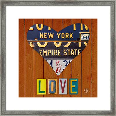 New York State Love Heart License Plate Art Series On Wood Boards Framed Print by Design Turnpike