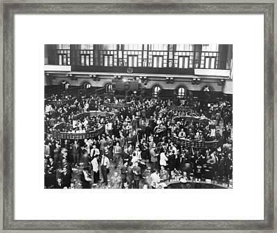 New York Stock Exchange Floor Framed Print by Underwood Archives