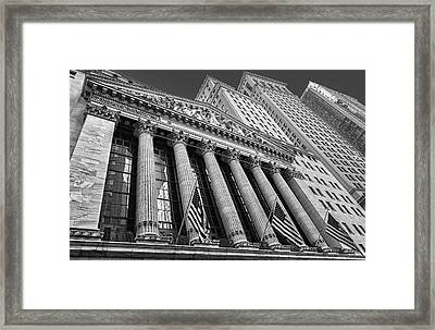New York Stock Exchange Wall Street Nyse Bw Framed Print by Susan Candelario