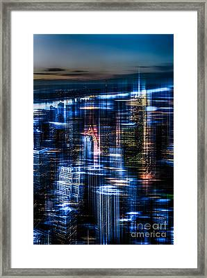 New York - The Night Awakes - Blue I Framed Print by Hannes Cmarits