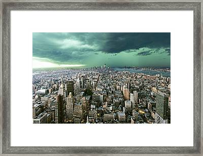 New-york Under Storm Framed Print by Pagniez