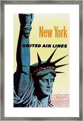 New York United Airlines Framed Print by Mark Rogan