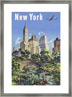 New York Vintage Travel Post Framed Print by Jamey Scally