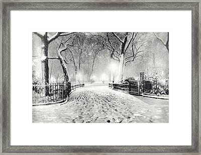 New York Winter Landscape - Madison Square Park Snow Framed Print by Vivienne Gucwa