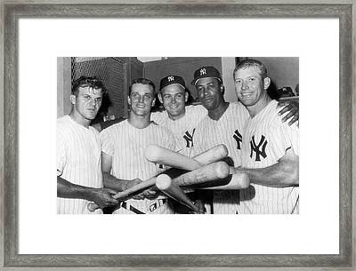 New York Yankee Sluggers Framed Print by Underwood Archives