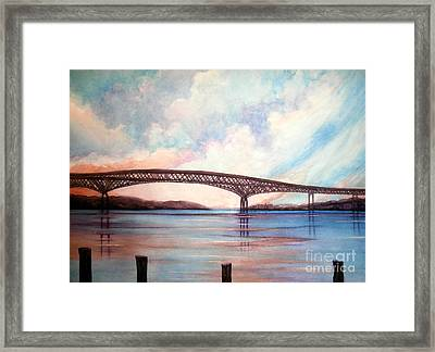 Newburgh Beacon Bridge Sky  Framed Print by Janine Riley