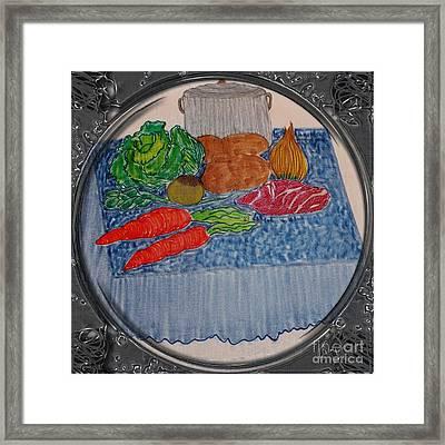 Newfoundland Jiggs Dinner - Porthole Vignette Framed Print by Barbara Griffin
