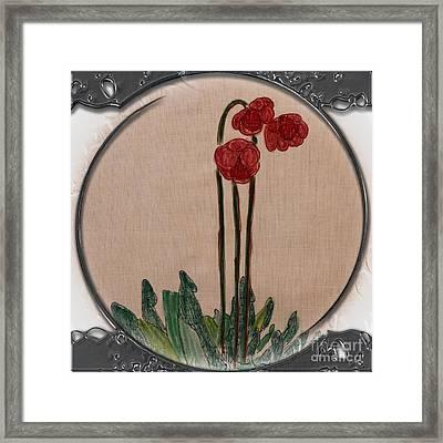 Newfoundland Pitcher Plant - Porthole Vignette Framed Print by Barbara Griffin