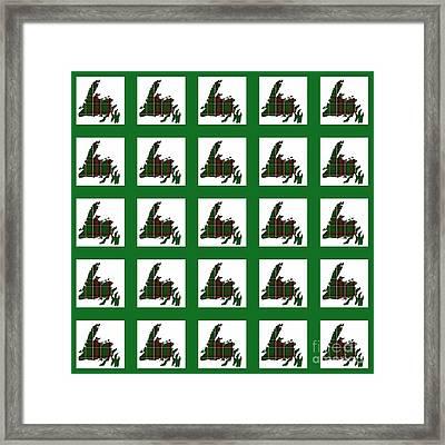 Newfoundland Tartan Map Blocks Green Trim Framed Print by Barbara Griffin