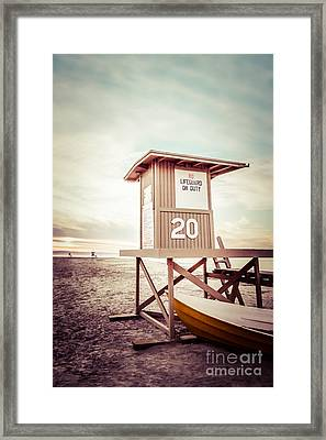Newport Beach Lifeguard Tower 20 Vintage Picture Framed Print by Paul Velgos