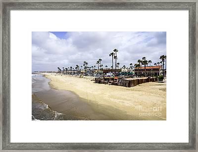 Newport Beach Oceanfront Businesses With Dory Fleet Framed Print by Paul Velgos