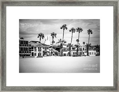 Newport Beach Oceanfront Homes Black And White Picture Framed Print by Paul Velgos
