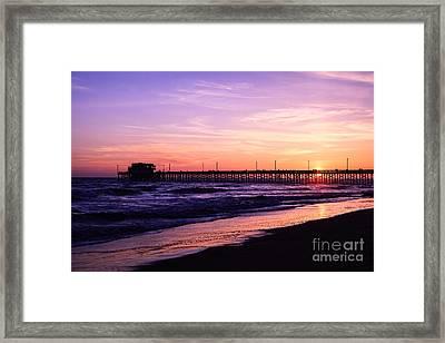 Newport Beach Pier Sunset In Orange County California Framed Print by Paul Velgos