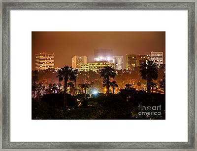 Newport Beach Skyline At Night Framed Print by Paul Velgos