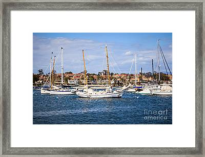 Newport Harbor Boats In Orange County California Framed Print by Paul Velgos