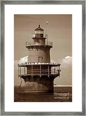 Newport News Middle Ground Light Framed Print by Skip Willits