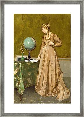 News From Afar Framed Print by Alfred Emile Stevens