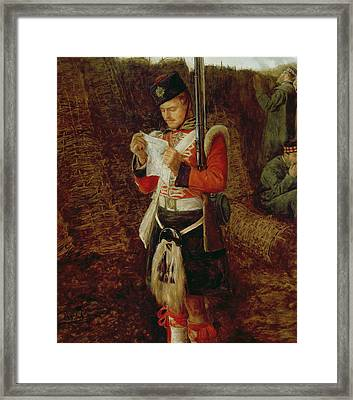 News From Home Framed Print by Sir John Everett Millais