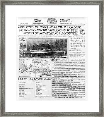 News Report On Titanic Disaster Framed Print by Library Of Congress