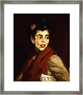 Newsgirl In Madrid Framed Print by Robert Henri