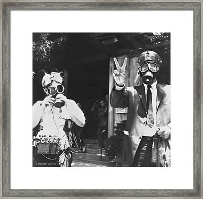 Newsmen Ready For Tear Gas Framed Print by Underwood Archives Grierson