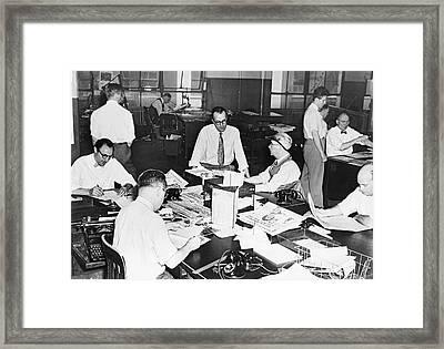 Newspaper City Desk Editors Framed Print by Fred Palumbo