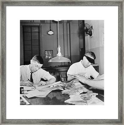 Newsroom Copy Readers Framed Print by Marjory Collins