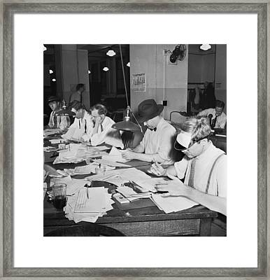 Newsroom Copy Readers Framed Print by Underwood Archives