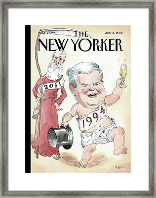 Newt Gingrich And Father Time Framed Print by Barry Blitt