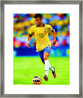 Neymar Soccer Football Art Portrait Painting Framed Print by Andres Ramos