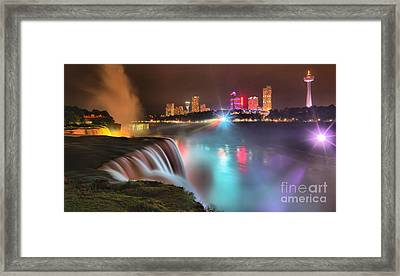 Niagara Blue And Purple Starburst Panorama Framed Print by Adam Jewell