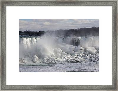Niagara Falls Awesome Ice Buildup - American Falls New York State Usa Framed Print by Georgia Mizuleva