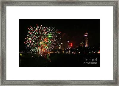 Niagara Falls Fireworks Framed Print by Charline Xia