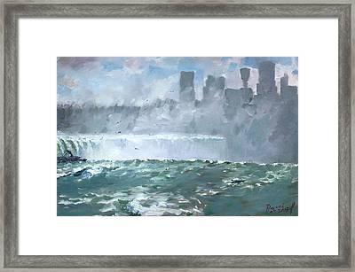 Niagara  Falls Mist  Framed Print by Ylli Haruni