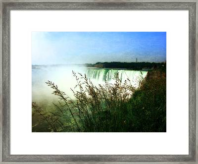Niagara Falls With Grasses Framed Print by Michelle Calkins