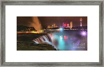 Niagara Starbust Skyline Panorama Framed Print by Adam Jewell
