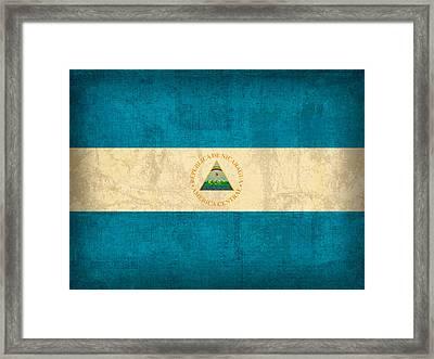 Nicaragua Flag Vintage Distressed Finish Framed Print by Design Turnpike
