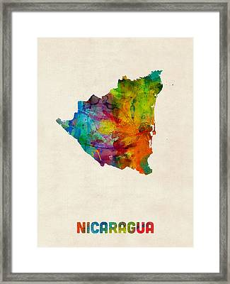 Nicaragua Watercolor Map Framed Print by Michael Tompsett