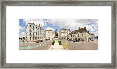 Nicephore Niepce Statue At Town Square Framed Print by Panoramic Images