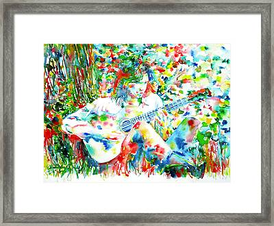 Nick Drake Playing The Guitar Under A Tree Watercolor Portrait Framed Print by Fabrizio Cassetta