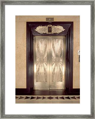 Nickel Metalwork Art Deco Elevator Framed Print by Panoramic Images