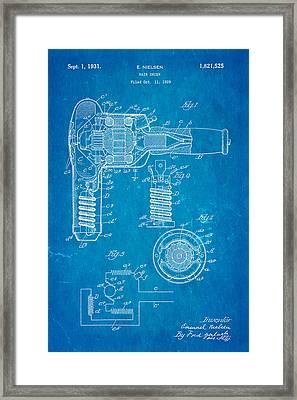 Nielsen Hair Dryer Patent Art 1929 Blueprint Framed Print by Ian Monk