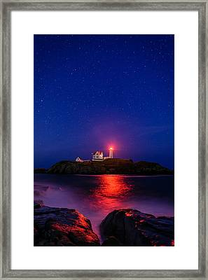 Night At Nubble Light Framed Print by Michael Blanchette