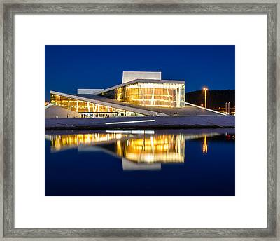 Night At The Oslo Opera House Framed Print by Michael Blanchette