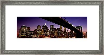 Night Brooklyn Bridge Skyline New York Framed Print by Panoramic Images