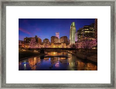 Night Cityscape - Omaha - Nebraska Framed Print by Nikolyn McDonald