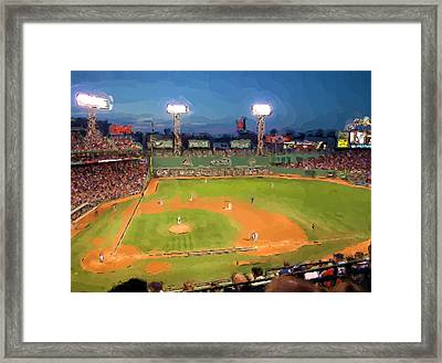 Night Fenway Pop Framed Print by John Farr