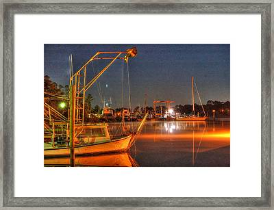 Night In The Harbor Framed Print by Michael Thomas