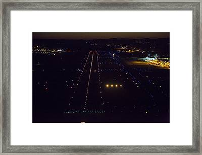 Night Landing At Portand International Framed Print by Dave Cleaveland